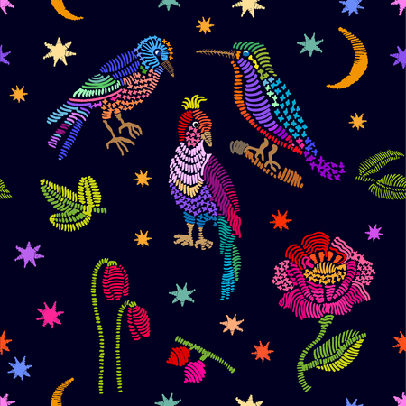 Abstract vector background with colorful embroidered birds, leaves and flowers. Retro textile design collection. Illustration