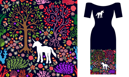 Seamless vector pattern with fantasy animals, trees and flowers. Summer textile collection. Illustration