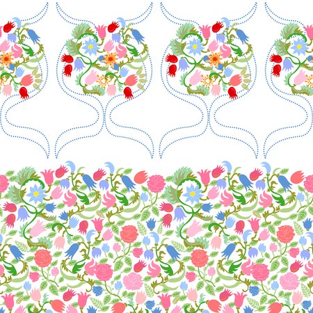 Rich floral background with Victorian motifs on white background. Illustration