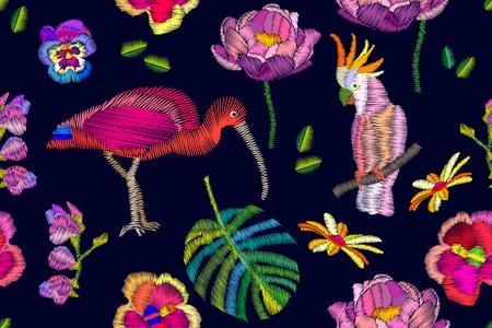 Exotic birds paradise. Beach textile design collection. Çizim