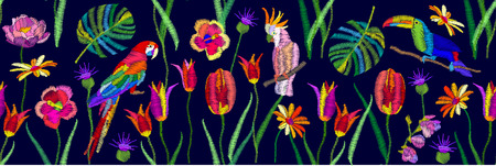 Wide panoramic seamless pattern with birds and flowers. Parrots, tulips, palm leaves.