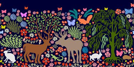 Deer, elk, hares, squirrel, hedgehog, lizard, plants. Иллюстрация