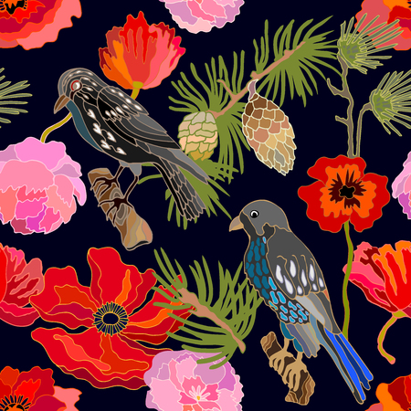 Seamless oriental pattern with Victorian motifs. Blooming summer poppies, leaves and blackbirds. Vintage textile collection.