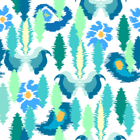 kilim: Seamless vector pattern with Indonesian motifs. Blue geometric elements on white background. Ethnic textile collection. Illustration