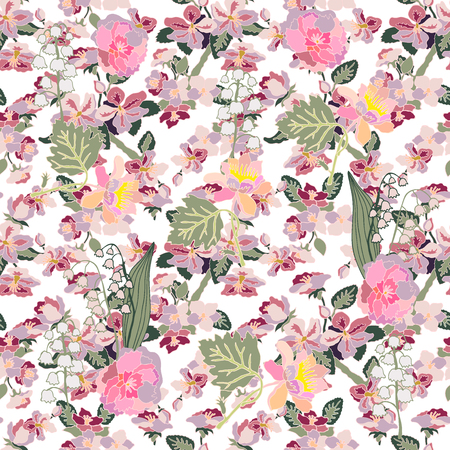 japanese garden: Seamless floral pattern with small spring flowers. Oriental textile collection.