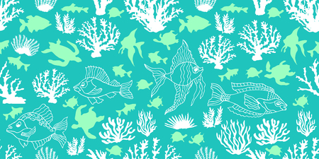 atoll: Seamless vector border with tropical motifs. Corals, fishes and tortillas on turquoise background. Beach textile collection. Illustration