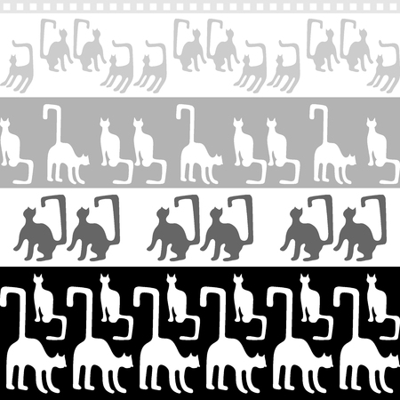 grey cat: Seamless vector border with geometrical kittens inspired by ancient Egyptian art. Ethnic textile collection.