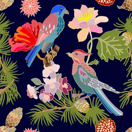 Seamless oriental pattern with Victorian motifs. Blooming flowers, leaves and birds. Vintage textile collection. Colorful on dark blue.
