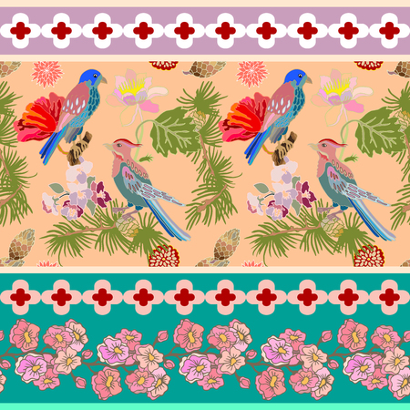 gothic style: Seamless oriental pattern with Victorian motifs. Blooming summer poppies, pine branches and birds. Vintage textile collection. Colorful on pink.