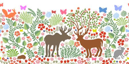 Fantasy animals in the garden. Deer, elk, squirrel, hare, hedgehog, bushes, blooming floral carpet