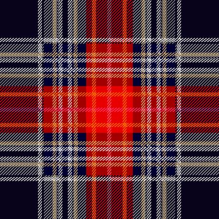 Einfacher geometrischer Wolldruck. Rote, blaue, weiße Dame und Streifen auf schwarzem Hintergrund. Retro Textilentwurfssammlung. Standard-Bild - 80715387