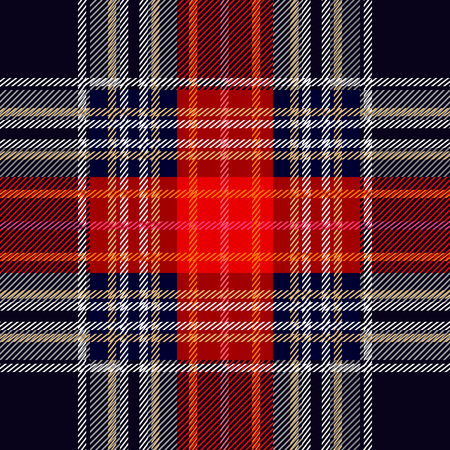 Simple geometric woolen print. Red, blue, white checkers and stripes on black background. Retro textile design collection. Illustration