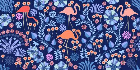 フラミンゴとエキゾチックな植物や白い背景の花とシームレスなベクトル パターン。  イラスト・ベクター素材