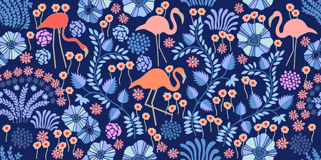 Seamless vector pattern with flamingo and exotic plants and flowers on white background.