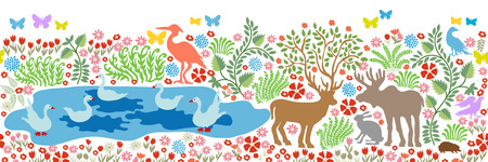 Seamless pattern for wall painting and fresco. Fantasy birds and animals in the forest.
