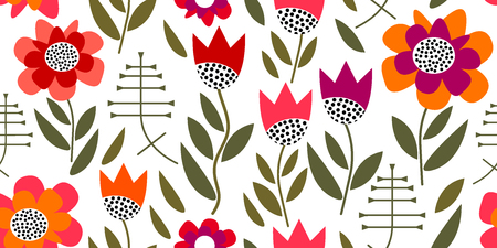 Seamless vector pattern inspired by 1950s textile design. Poppies and tulips on white background. Illustration