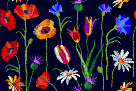 Seamless vector pattern with chamomiles, thistles, red and yellow poppies. Botanical print with embroidered texture. Vintage motifs. Retro textile collection.