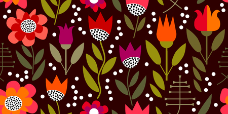 Pattern inspired by 1950s textile design. Illustration