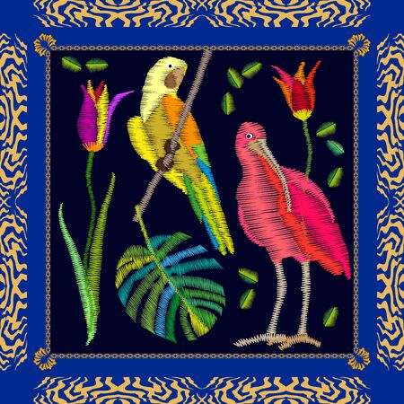 Silk scarf pattern with yellow parrot, ibis, palm leaf and flowers. Illustration