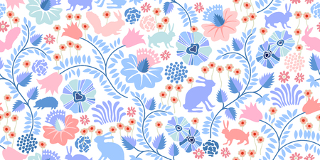 Seamless vector pattern with hares, squirrels, hedgehogs, flowers and trees on white background. Textile print with vintage motifs. Illustration