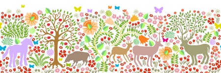Fantasy animals in the forest. Deer, roe, boar, trees, blooming floral carpet. Illustration