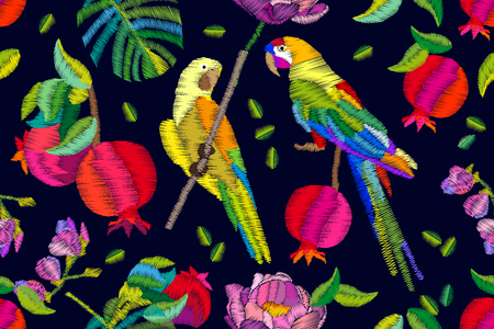 Seamless vector pattern with exotic birds, fruits, palm leaves and flowers. Embroidered texture. Vintage textile collection.