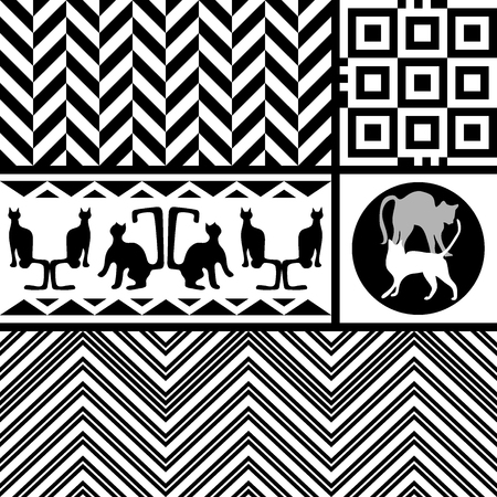 Set of black and white vector patterns with squares, triangles, chevrons and circles. Concept of minimalism.