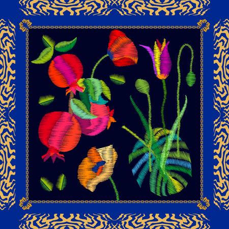 framed: Silk scarf with pomegranates, tulips and poppies. Stylized embroidered texture. Vintage textile collection. Illustration