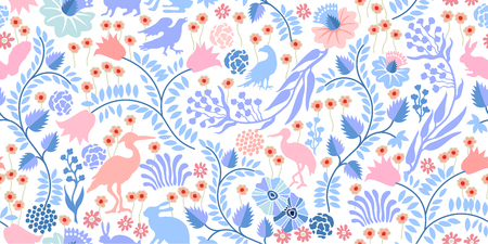 Seamless vector pattern with birds, hares, flowers and trees on white background. Textile print with vintage motifs. Illustration