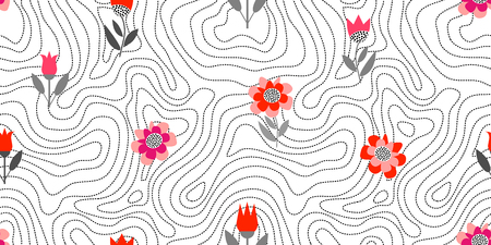 Seamless vector background inspired by 1960s textile design. Poppies and tulips on dark blue background.