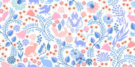 Autumn forest. Textile print with vintage motifs. Illustration