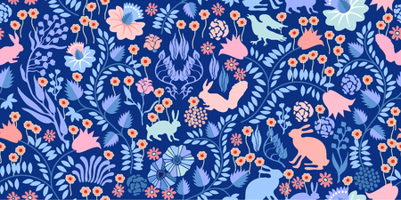 fall leaves: Autumn forest. Textile print with vintage motifs. Illustration