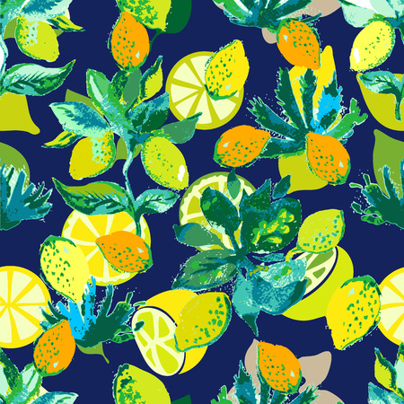 A Seamless vector pattern with hand-drawn lemons and limes.