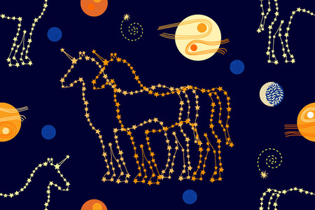 Abstract seamless vector pattern with magic animals, constellations, stars and moon. 1950s-1960s motifs. Retro textile collection. Golden on dark.