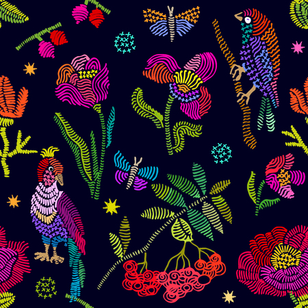 Seamless vector pattern with birds and flowers. Vintage motifs. Retro textile design collection. Colorful on dark.