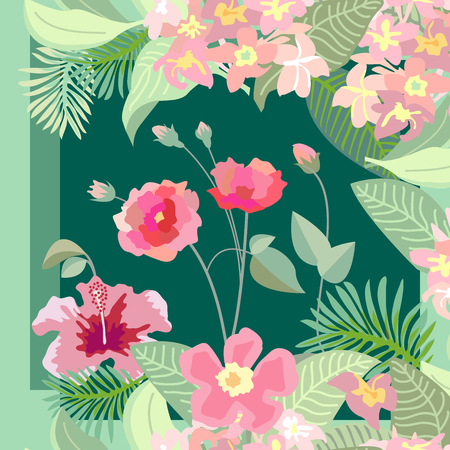 Silk scarf with roses, magnolia, hibiscus flowers and palm leaves on dark green background. Vintage textile collection.