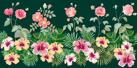Summer textile collection. On dark green background. Illustration