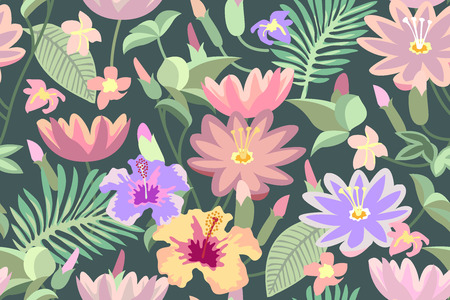 Lotuses, magnolia, palm leaves. Summer textile collection.