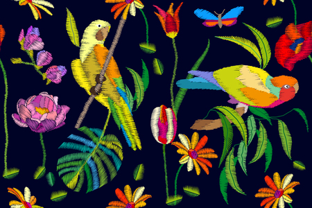 Parrots, palm leaves, flowers and butterflies. Beach textile collection.