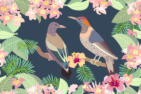 japanese garden: Seamless vector print with birds, blooming flowers and palm leaves. Japanese garden motifs.