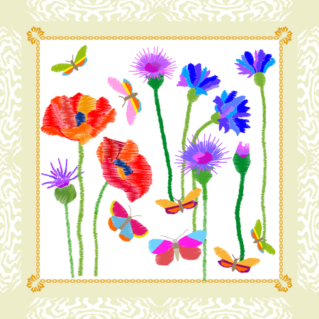 Silk scarf with stylized embroidered texture. Vintage textile collection. Stock Vector - 83476442