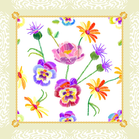 Silk scarf with stylized embroidered texture. Vintage textile collection. Stock Vector - 83476440