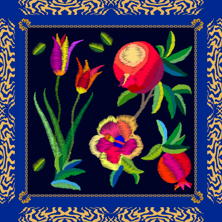 Silk scarf with pomegranates, tulips and peonies. Stylized embroidered texture. Vintage textile collection.