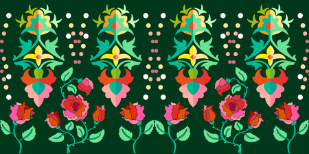 Seamless vector pattern with Gothic and Art Nouveau motifs. Vintage textile collection.