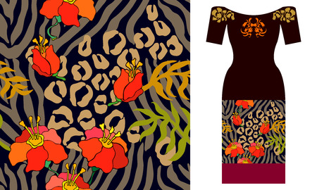 Seamless vector pattern with leaves. Summer textile collection. Çizim