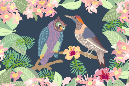 Seamless vector print with owls, blooming flowers and palm leaves. Victorian motifs.