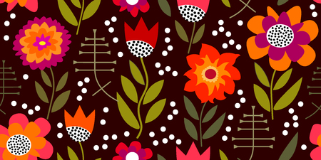 Inspired by 1950s-1960s design. Retro textile collection. Illustration