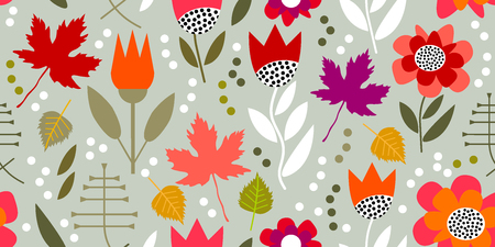 Seamless vector pattern with chrysanthemums, asters and leaves.