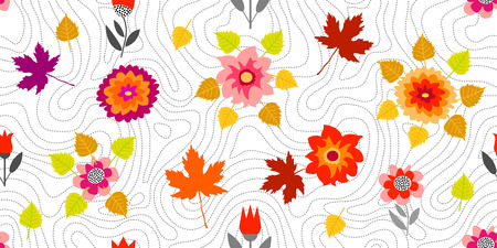 Seamless vector pattern with chrysanthemums, asters and leaves design.