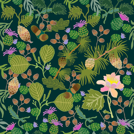 Floral print with pine branches, acorns, thistles and flowers. Vintage textile collection.